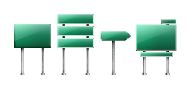 Set van realistische groene verkeersborden geïsoleerd Gratis Vector