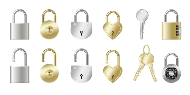 Set van realistische hangsloten en sleutels gouden en zilveren metalen kluisjes geïsoleerd met sleutelgaten, mechanisch, op code of hartvormig.