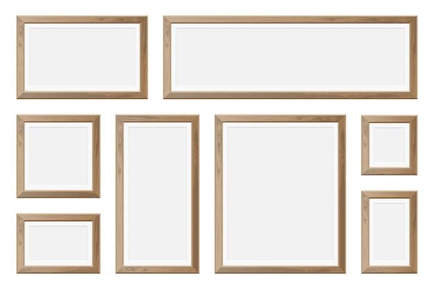 Set van realistische houten afbeeldingsframe