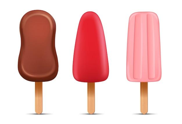 Set van realistische ijslolly met stokken