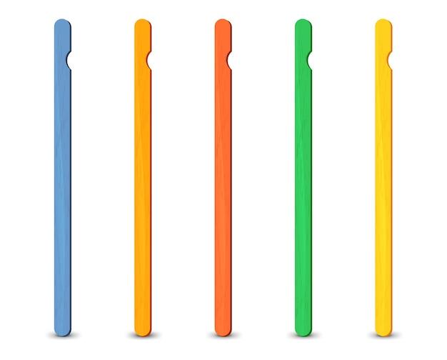 Set van realistische ijslollystokjes.
