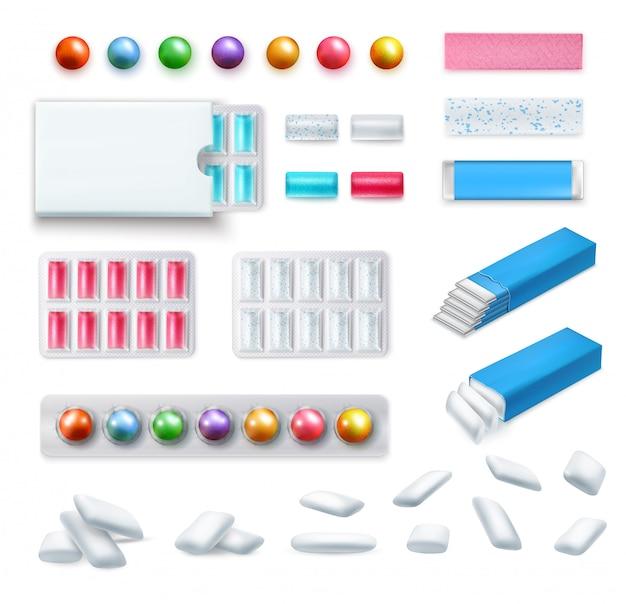 Set van realistische kauwgom van verschillende vorm en kleur in verpakking en zonder geïsoleerd