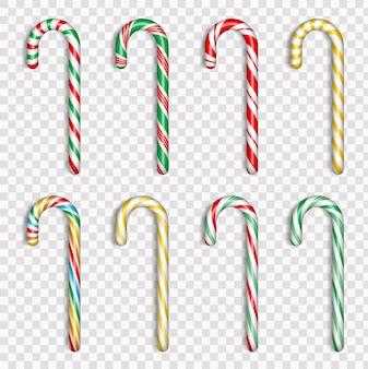 Set van realistische kerst candy cane