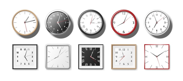 Set van realistische klokken en horloges voor op kantoor. wandklokken rond en vierkant kwarts met de klok mee. moderne 3d horloges met witte en zwarte wijzerplaten. vector illustratie
