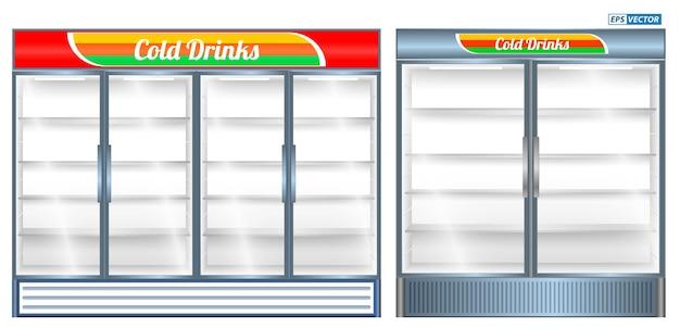 Set van realistische koelkast showcase geïsoleerde of commerciële koelkast koeling dranken koelkast
