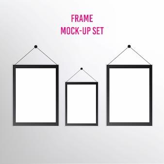 Set van realistische lege afbeeldingsframes met schaduwen geïsoleerd op een witte achtergrond.