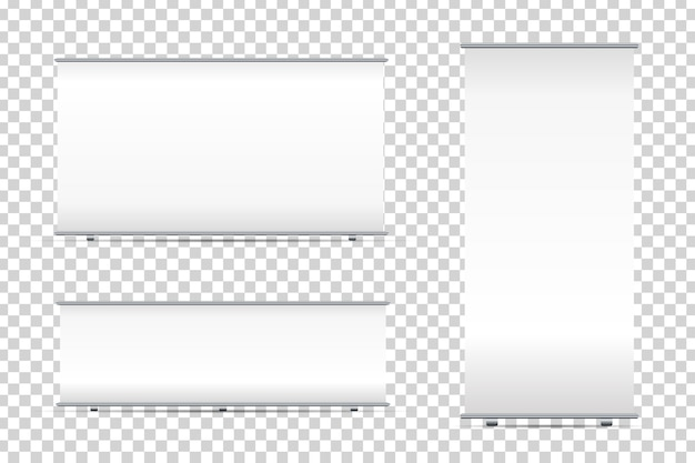 Set van realistische lege roll-up banners op de transparante achtergrond voor decoratie en reclame. witte standaard mock-up sjablonen vector illustratie.