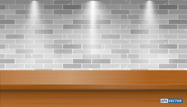 Set van realistische lege tafel mock-up met muur achtergrond of leeg bureau met down light of mock up