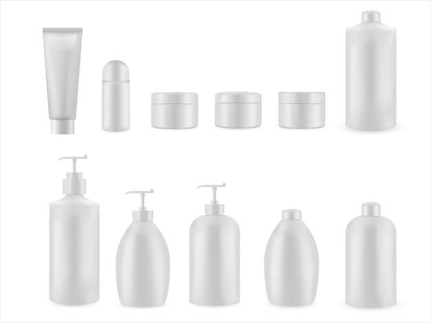 Set van realistische lege verpakking voor cosmetisch product. verzameling van lege sjabloon van plastic containers. fles voor vloeistof, huidverzorgingscrème.