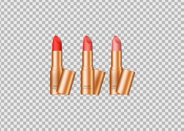 Set van realistische lippenstift geïsoleerd