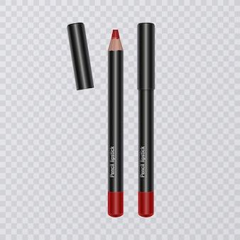 Set van realistische lippotloden, lipvoeringen van felle rode kleur