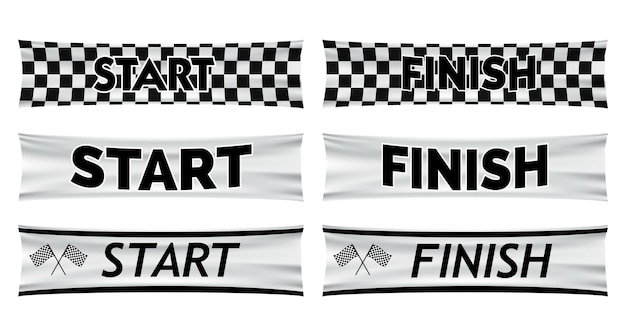 Set van realistische marathon start finish lijn geïsoleerde eps vector