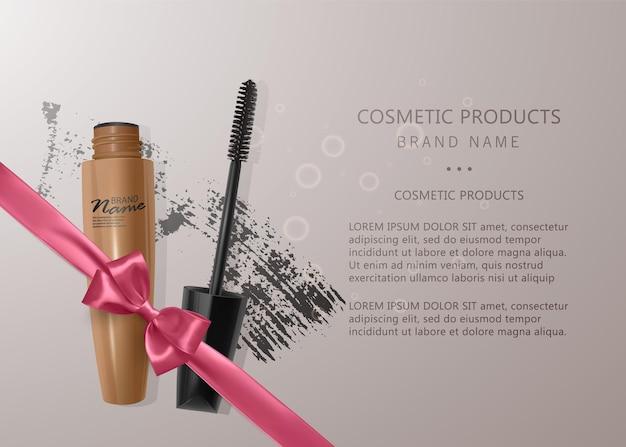Set van realistische mascara en penseelstreek, schoonheid en cosmetische illustratie.
