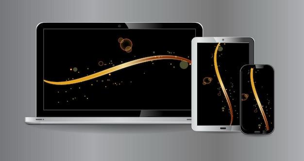 Set van realistische mock-up monitor tablet smartphone en laptop geïsoleerde of technologische apparaten t