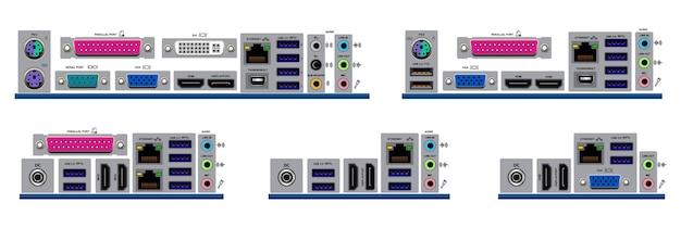 Set van realistische moederbord vormfactor geïsoleerd of verschillende moederbord desktop personal computer