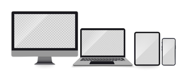 Set van realistische monitor, laptop, tablet, smartphone. set apparaten met lege schermen. elektronische gadgets laptop, tabletcomputer, monitor en mobiele telefoon op transparant scherm