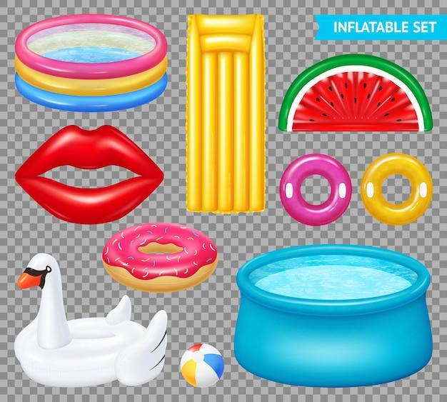 Set van realistische opblaasbare objecten zwembaden en zwemuitrusting geïsoleerd op transparant