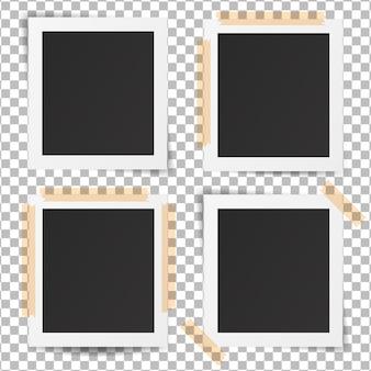 Set van realistische oude fotolijsten. sjabloon retro foto ontwerp.