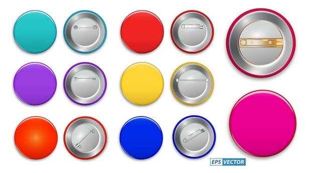 Set van realistische pin-knop geïsoleerd of pin broche knop sjabloon promotie merchandise