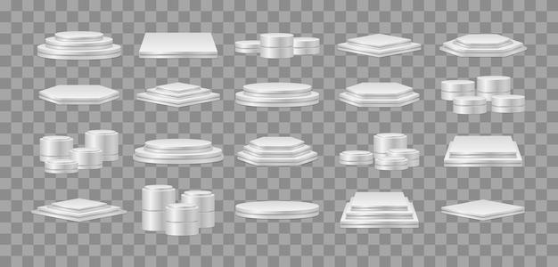 Set van realistische podia. voetstuk voor winnaars. ronde en vierkante lege podia en podiumtrappen.