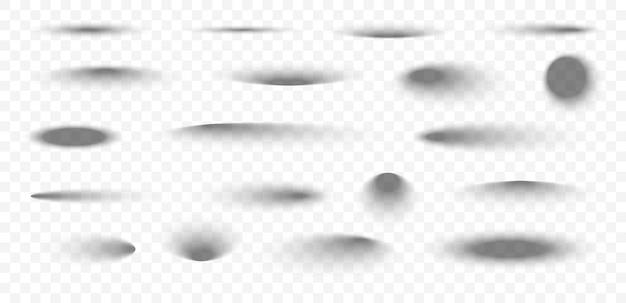 Set van realistische schaduw op transparante achtergrond ovale en ronde schaduwen