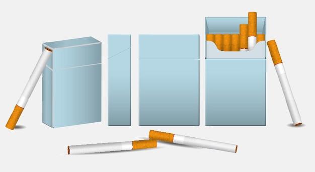 Set van realistische smeulende sigaretten in een lijn en niet roken teken eps vector
