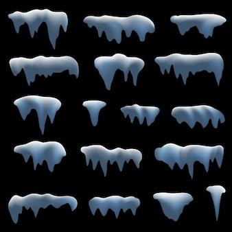 Set van realistische sneeuwmuts.