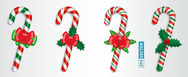Set van realistische snoepgoed kerst geïsoleerd of gekruist zoet snoep vastgebonden met een strik of zoet