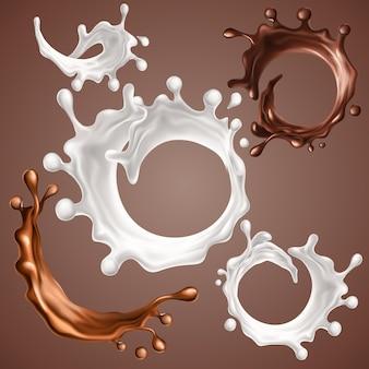 Set van realistische spatten en druppels melk en gesmolten chocolade dynamische cirkel spatten van werveling
