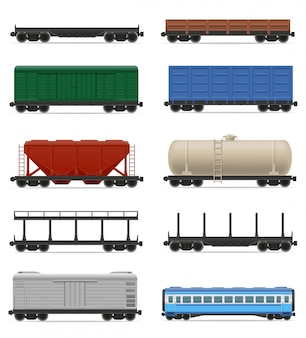 Set van realistische spoorwagon trein vectorillustratie