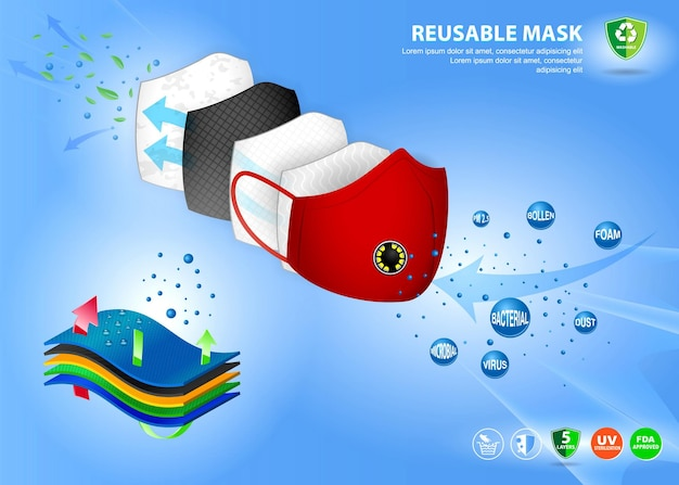 Set van realistische stoffen gezichtsmasker illustratie of wasbaar masker katoen eps vector