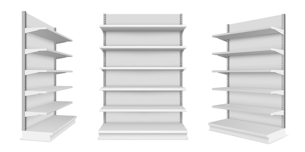 Set van realistische supermarkt-showcase met planken. mockup van markt- of winkelcentrumteller voor detailhandel. winkel product display of winkel kraam. productplaatsing concept voor binnen of binnen. plank en rek