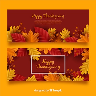 Set van realistische thanksgiving day banners