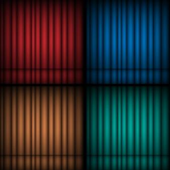 Set van realistische theatrale gesloten gordijnen