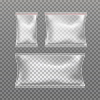 Set van realistische transparante kussenslopen geïsoleerd