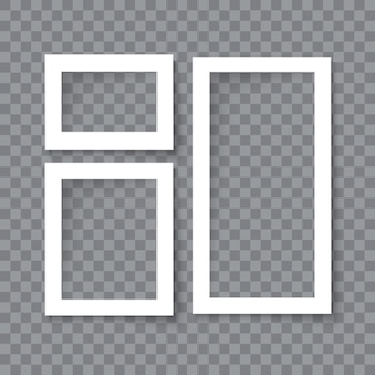 Set van realistische vector lege fotolijsten met schaduweffecten geïsoleerd op transparante achtergrond. verschillende formaten foto's