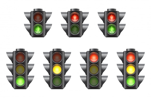 Set van realistische verkeerslichten voor auto's en voetgangers