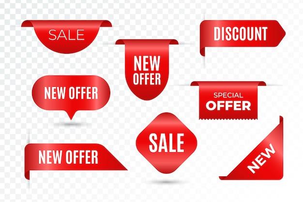 Set van realistische verkoop tags met tekst
