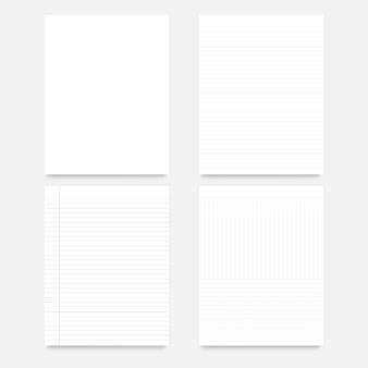 Set van realistische vierkante, bekleed papier blanco vellen geïsoleerd.