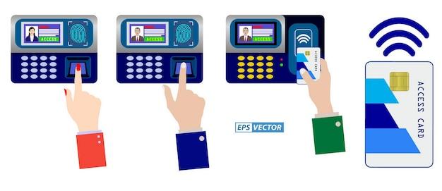 Set van realistische vingerafdruk afwezigheidsscan vooruitgang geïsoleerd of toegang tot beveiligingssystemen