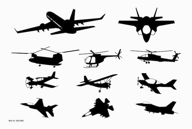 Set van realistische vliegtuigmodellen of landen en opstijgen van commercieel vliegtuig of vliegtuigbedrijf