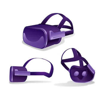 Set van realistische vr-headset