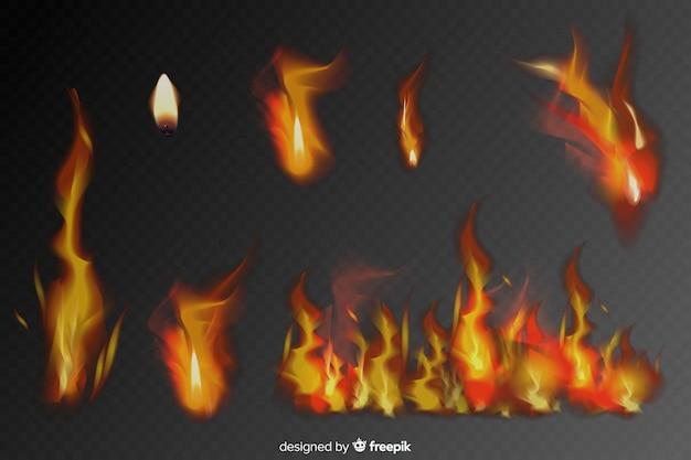Set van realistische vuur vlammen