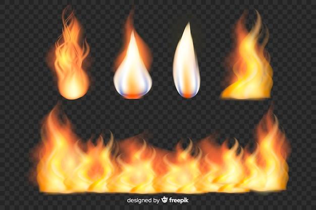Set van realistische vuurvlammen