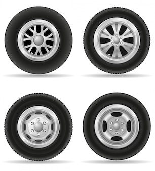 Set van realistische wiel voor auto vectorillustratie