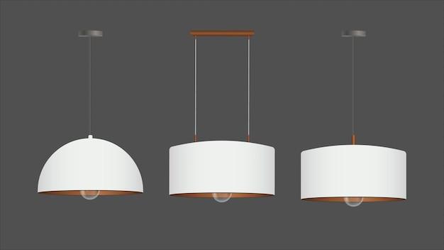 Set van realistische witte lichten. plafondlamp in loftstijl.