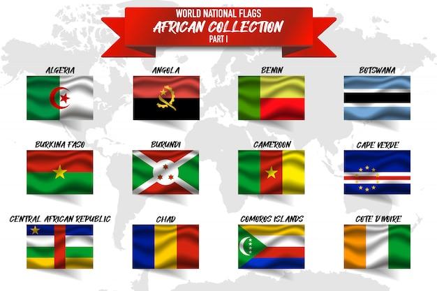 Set van realistische wuivende nationale vlag van afrikaanse landen op de wereldkaart. benin, algerije, angola en andere