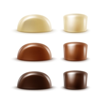 Set van realistische zwarte donkere bittere witte melkchocolade snoepjes in verschillende vormen op witte achtergrond
