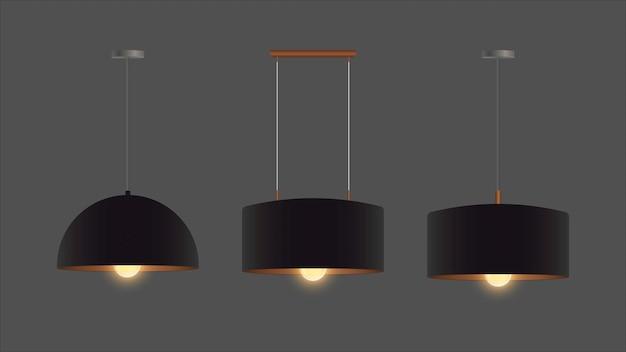 Set van realistische zwarte kroonluchters. kroonluchter inbegrepen. loft-stijl. interieur ontwerpelement.