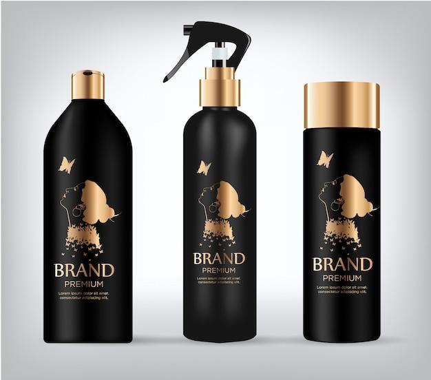 Set van realistische zwarte pakket cosmetica.